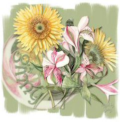 Gerbera and Freesia Tag